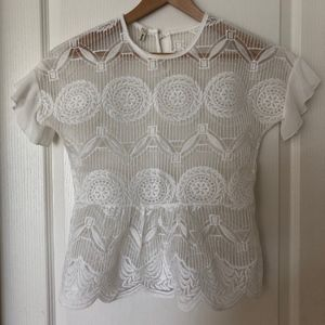 White Lace Peplum Top with Chiffon Sleeves NWOT